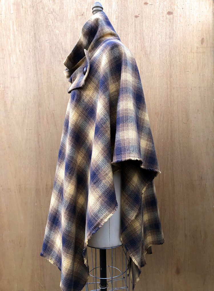 Millie Poncho in 100% cotton flannel, side view